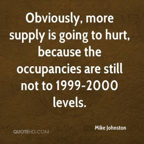 Obviously, more supply is going to hurt, because the occupancies are still not to 1999-2000 levels.