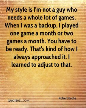 Robert Esche  - My style is I'm not a guy who needs a whole lot of games. When I was a backup, I played one game a month or two games a month. You have to be ready. That's kind of how I always approached it. I learned to adjust to that.