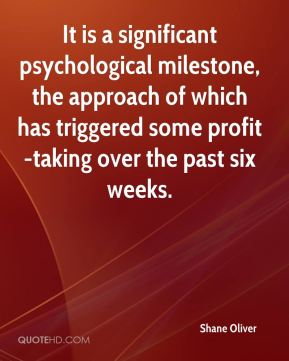 Shane Oliver  - It is a significant psychological milestone, the approach of which has triggered some profit-taking over the past six weeks.