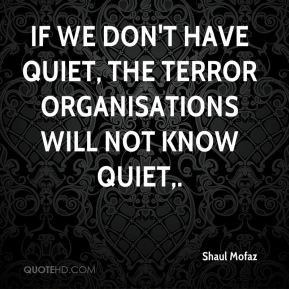 Shaul Mofaz  - If we don't have quiet, the terror organisations will not know quiet.