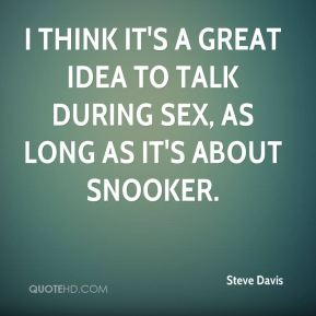 I think it's a great idea to talk during sex, as long as it's about snooker.