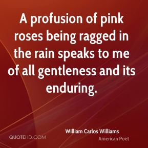 William Carlos Williams  - A profusion of pink roses being ragged in the rain speaks to me of all gentleness and its enduring.
