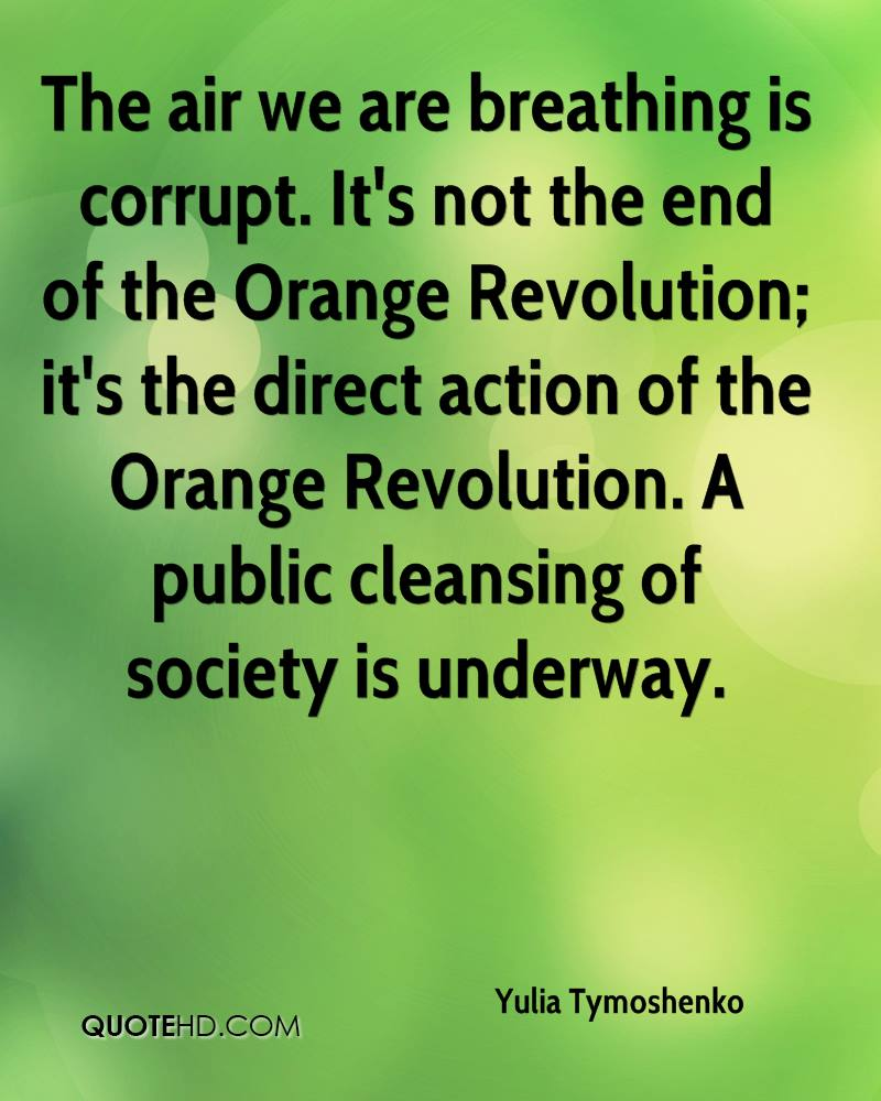 The air we are breathing is corrupt. It's not the end of the Orange Revolution; it's the direct action of the Orange Revolution. A public cleansing of society is underway.