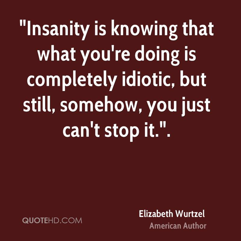"""""""Insanity is knowing that what you're doing is completely idiotic, but still, somehow, you just can't stop it.""""."""