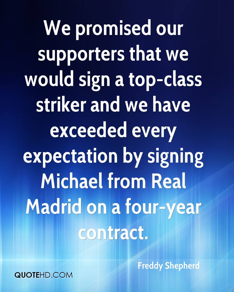 We promised our supporters that we would sign a top-class striker and we have exceeded every expectation by signing Michael from Real Madrid on a four-year contract.