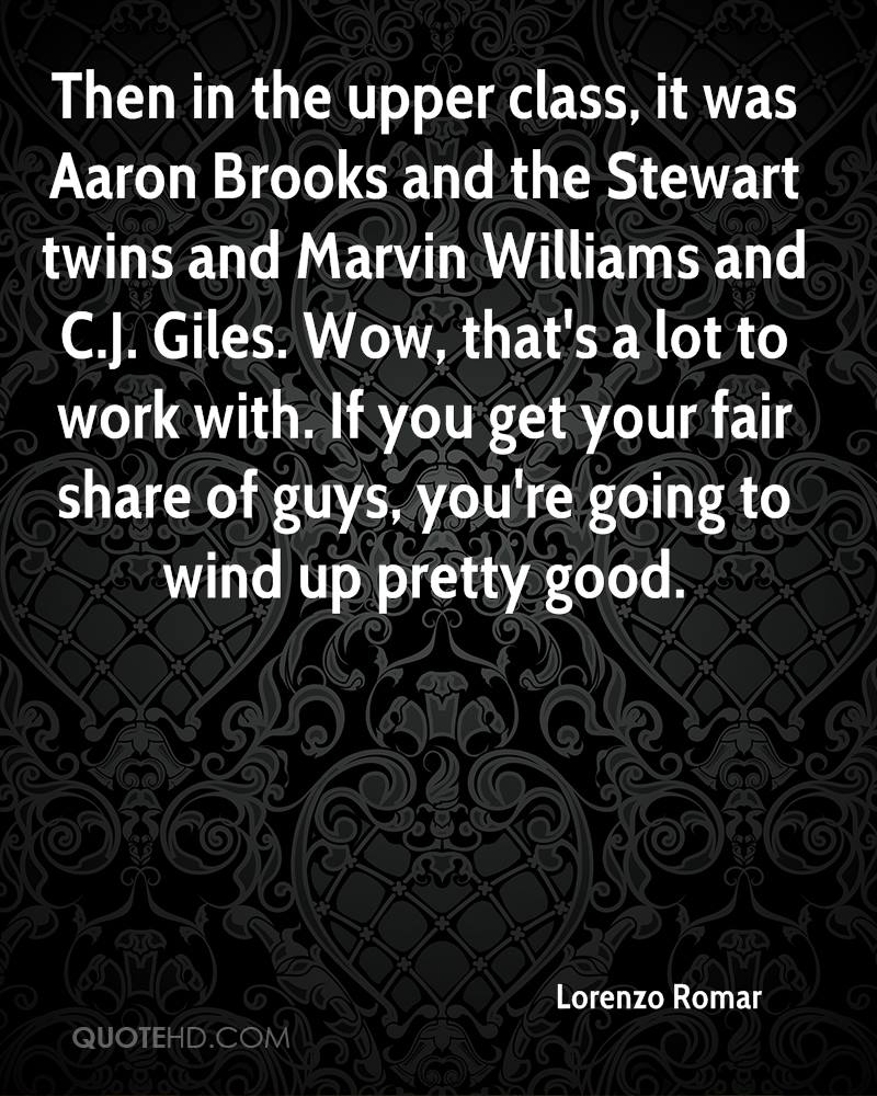 Then in the upper class, it was Aaron Brooks and the Stewart twins and Marvin Williams and C.J. Giles. Wow, that's a lot to work with. If you get your fair share of guys, you're going to wind up pretty good.