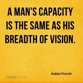 A man's capacity is the same as his breadth of vision.