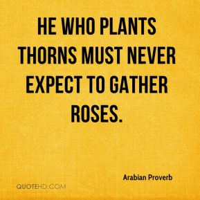 Arabian Proverb - He who plants thorns must never expect to gather roses.