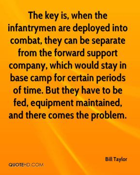 Bill Taylor - The key is, when the infantrymen are deployed into combat, they can be separate from the forward support company, which would stay in base camp for certain periods of time. But they have to be fed, equipment maintained, and there comes the problem.