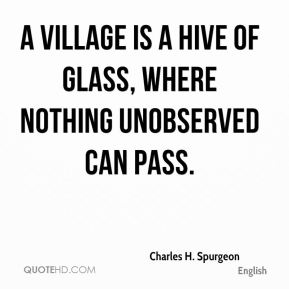 A village is a hive of glass, where nothing unobserved can pass.
