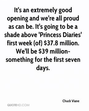 Chuck Viane - It's an extremely good opening and we're all proud as can be. It's going to be a shade above 'Princess Diaries' first week (of) $37.8 million. We'll be $39 million-something for the first seven days.