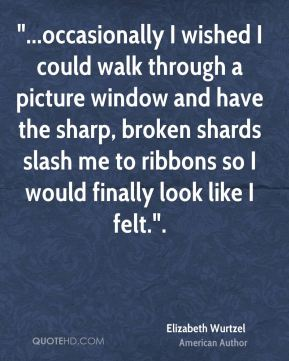 """Elizabeth Wurtzel - """"...occasionally I wished I could walk through a picture window and have the sharp, broken shards slash me to ribbons so I would finally look like I felt.""""."""
