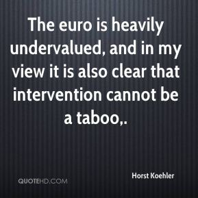 Horst Koehler - The euro is heavily undervalued, and in my view it is also clear that intervention cannot be a taboo.