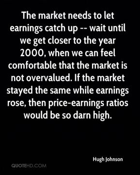Hugh Johnson - The market needs to let earnings catch up -- wait until we get closer to the year 2000, when we can feel comfortable that the market is not overvalued. If the market stayed the same while earnings rose, then price-earnings ratios would be so darn high.
