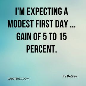 Irv DeGraw - I'm expecting a modest first day ... gain of 5 to 15 percent.