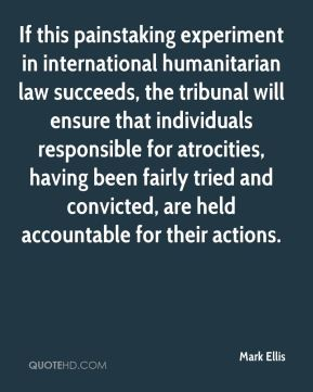 Mark Ellis  - If this painstaking experiment in international humanitarian law succeeds, the tribunal will ensure that individuals responsible for atrocities, having been fairly tried and convicted, are held accountable for their actions.