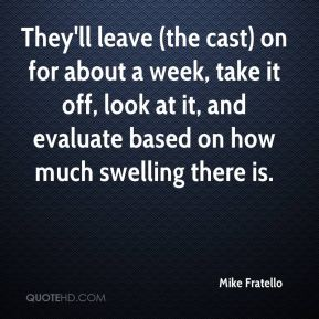 Mike Fratello  - They'll leave (the cast) on for about a week, take it off, look at it, and evaluate based on how much swelling there is.