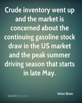 Crude inventory went up and the market is concerned about the continuing gasoline stock draw in the US market and the peak summer driving season that starts in late May.