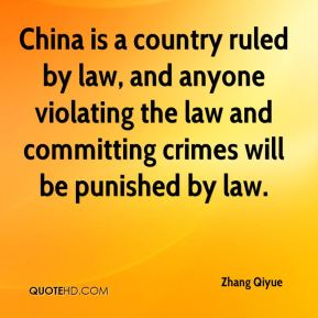 China is a country ruled by law, and anyone violating the law and committing crimes will be punished by law.