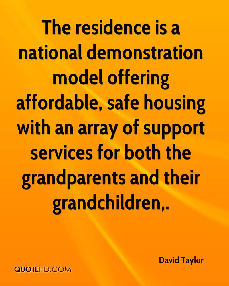 The residence is a national demonstration model offering affordable, safe housing with an array of support services for both the grandparents and their grandchildren.