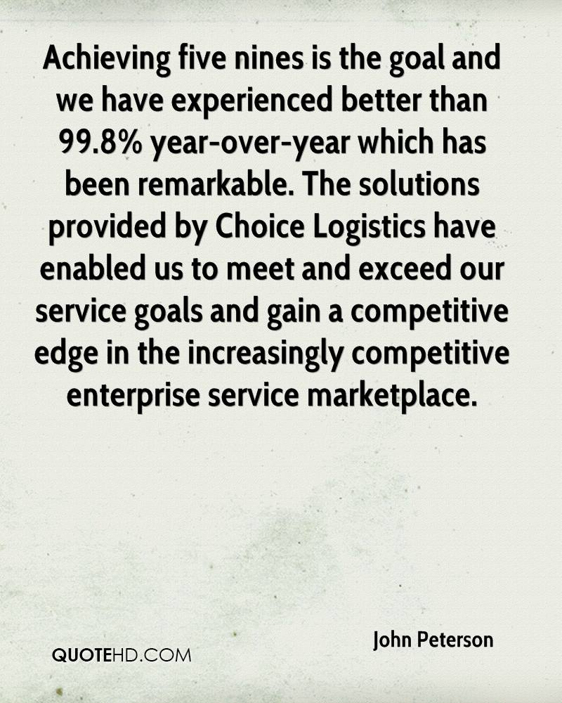Achieving five nines is the goal and we have experienced better than 99.8% year-over-year which has been remarkable. The solutions provided by Choice Logistics have enabled us to meet and exceed our service goals and gain a competitive edge in the increasingly competitive enterprise service marketplace.