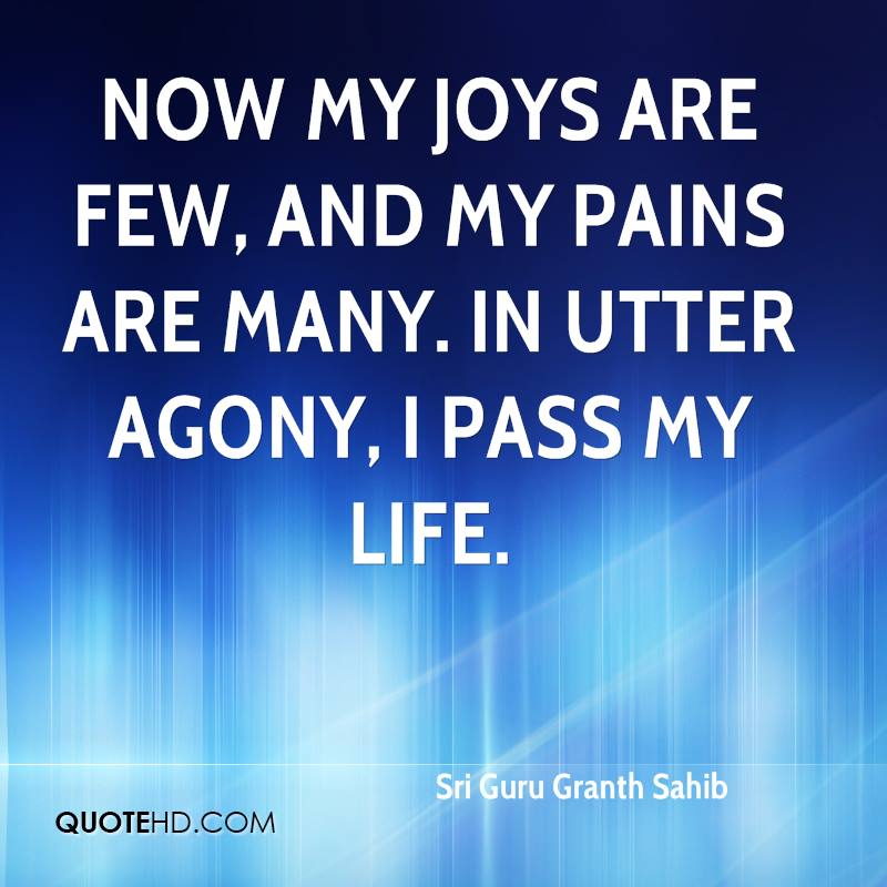 Now my joys are few, and my pains are many. In utter agony, I pass my life.