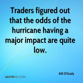 Bill O'Grady - Traders figured out that the odds of the hurricane having a major impact are quite low.