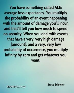 Bruce Schneier - You have something called ALE: average loss expectancy. You multiply the probability of an event happening with the amount of damage you'll incur, and that'll tell you how much to spend on security. When you deal with events that have a very, very high damage [amount], and a very, very low probability of occurrence, you multiply infinity by zero and get whatever you want.