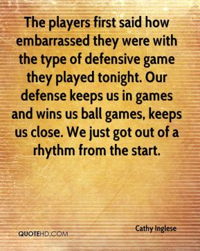 The players first said how embarrassed they were with the type of defensive game they played tonight. Our defense keeps us in games and wins us ball games, keeps us close. We just got out of a rhythm from the start.