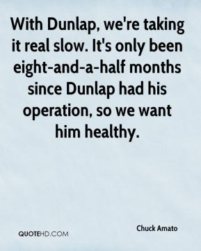 Chuck Amato - With Dunlap, we're taking it real slow. It's only been eight-and-a-half months since Dunlap had his operation, so we want him healthy.