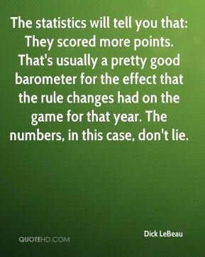 Dick LeBeau - The statistics will tell you that: They scored more points. That's usually a pretty good barometer for the effect that the rule changes had on the game for that year. The numbers, in this case, don't lie.