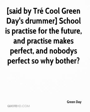 [said by Tré Cool Green Day's drummer] School is practise for the future, and practise makes perfect, and nobodys perfect so why bother?