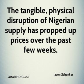 Jason Schenker  - The tangible, physical disruption of Nigerian supply has propped up prices over the past few weeks.