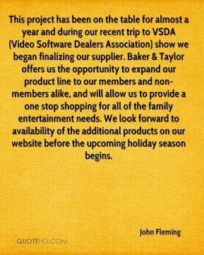 This project has been on the table for almost a year and during our recent trip to VSDA (Video Software Dealers Association) show we began finalizing our supplier. Baker & Taylor offers us the opportunity to expand our product line to our members and non-members alike, and will allow us to provide a one stop shopping for all of the family entertainment needs. We look forward to availability of the additional products on our website before the upcoming holiday season begins.