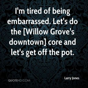 I'm tired of being embarrassed. Let's do the [Willow Grove's downtown] core and let's get off the pot.
