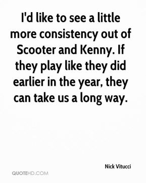 Nick Vitucci  - I'd like to see a little more consistency out of Scooter and Kenny. If they play like they did earlier in the year, they can take us a long way.