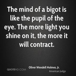 The mind of a bigot is like the pupil of the eye. The more light you shine on it, the more it will contract.