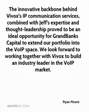 The innovative backbone behind Vivox's IP communication services, combined with Jeff's expertise and thought-leadership proved to be an ideal opportunity for GrandBanks Capital to extend our portfolio into the VoIP space. We look forward to working together with Vivox to build an industry leader in the VoIP market.