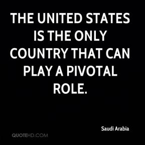 the United States is the only country that can play a pivotal role.