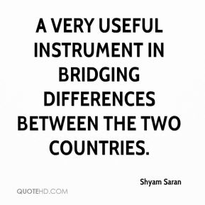 Shyam Saran  - a very useful instrument in bridging differences between the two countries.
