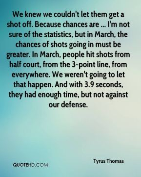 We knew we couldn't let them get a shot off. Because chances are ... I'm not sure of the statistics, but in March, the chances of shots going in must be greater. In March, people hit shots from half court, from the 3-point line, from everywhere. We weren't going to let that happen. And with 3.9 seconds, they had enough time, but not against our defense.