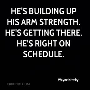 Wayne Krivsky  - He's building up his arm strength. He's getting there. He's right on schedule.