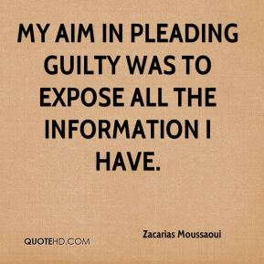 My aim in pleading guilty was to expose all the information I have.