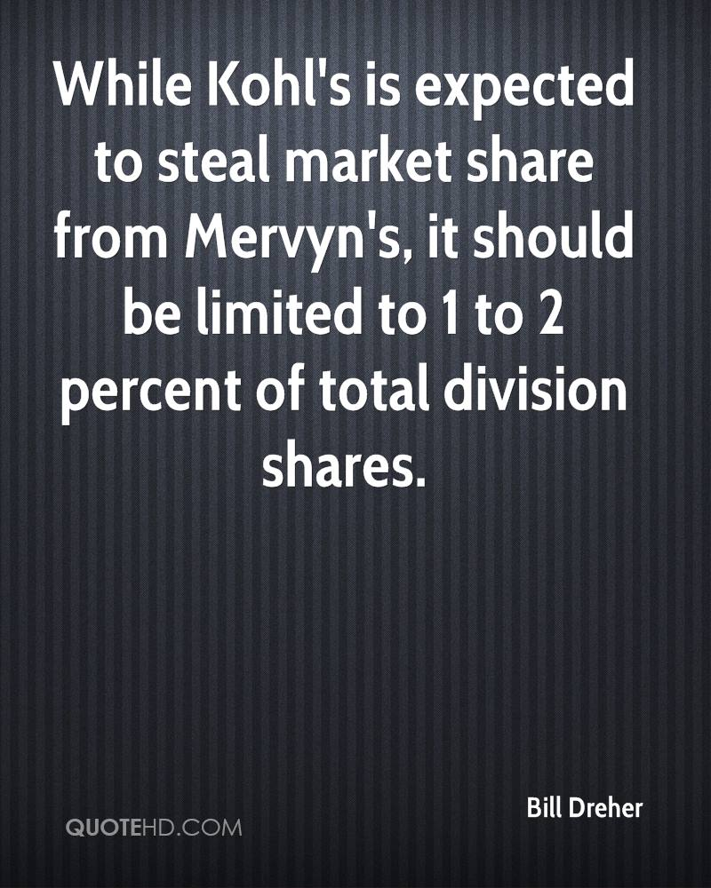 While Kohl's is expected to steal market share from Mervyn's, it should be limited to 1 to 2 percent of total division shares.
