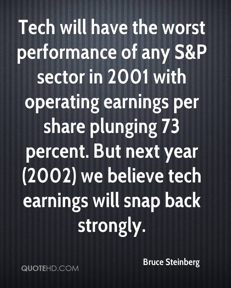 Tech will have the worst performance of any S&P sector in 2001 with operating earnings per share plunging 73 percent. But next year (2002) we believe tech earnings will snap back strongly.