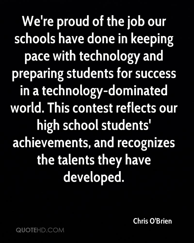 We're proud of the job our schools have done in keeping pace with technology and preparing students for success in a technology-dominated world. This contest reflects our high school students' achievements, and recognizes the talents they have developed.