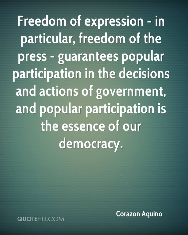 Freedom of expression - in particular, freedom of the press - guarantees popular participation in the decisions and actions of government, and popular participation is the essence of our democracy.
