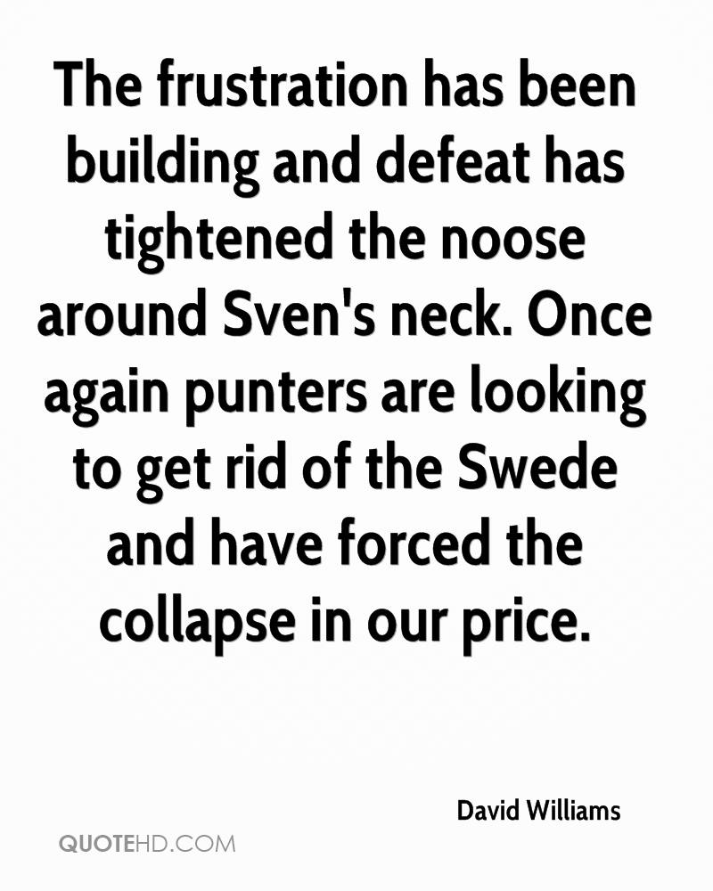 The frustration has been building and defeat has tightened the noose around Sven's neck. Once again punters are looking to get rid of the Swede and have forced the collapse in our price.