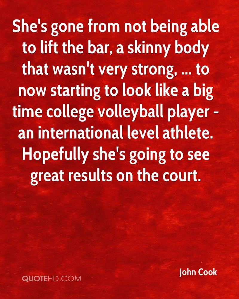 She's gone from not being able to lift the bar, a skinny body that wasn't very strong, ... to now starting to look like a big time college volleyball player - an international level athlete. Hopefully she's going to see great results on the court.