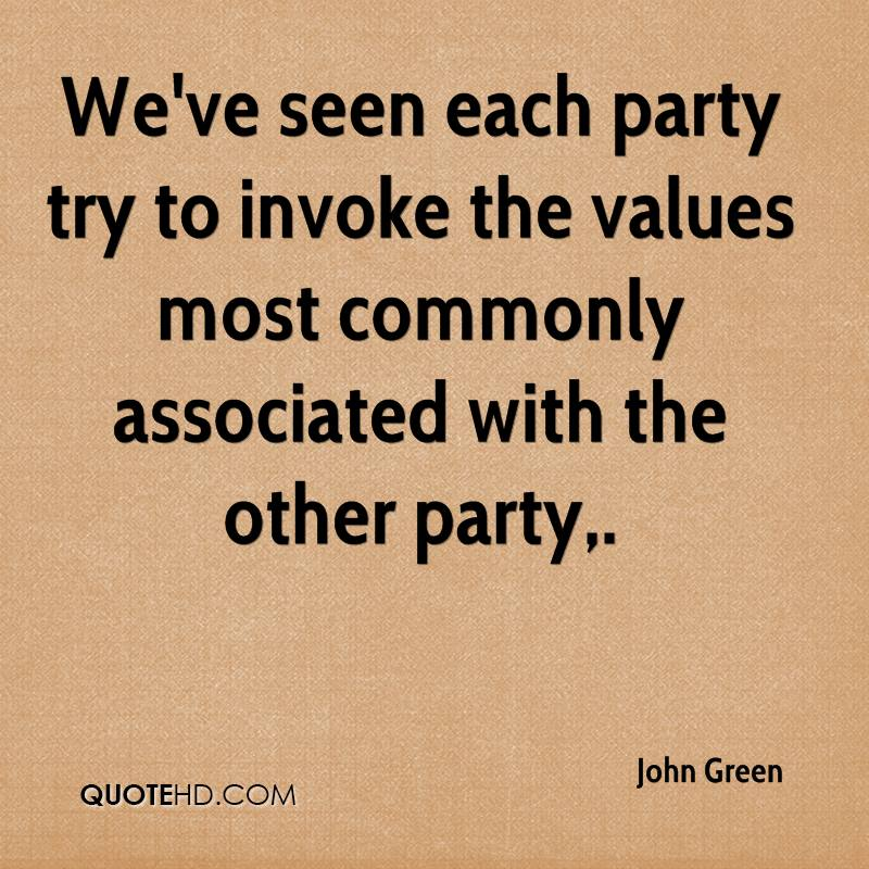 We've seen each party try to invoke the values most commonly associated with the other party.
